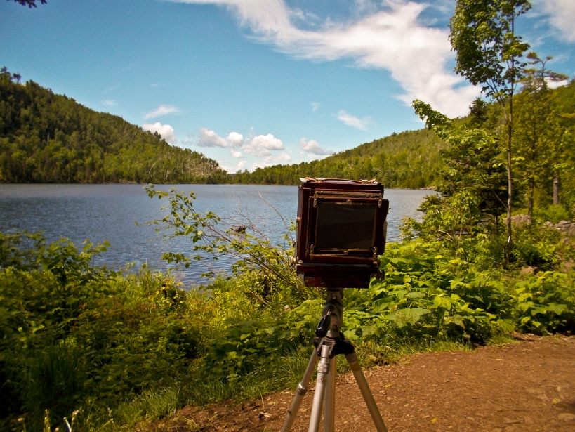 My 4x5 camera on the lakeside campsite of Bear Lake